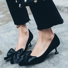 Kvinnor Äkta läder Kitten Heel Pumps Stängt Toe med Bowknot skor