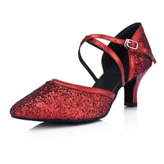 Women's Leatherette Sparkling Glitter Heels Pumps Modern Ballroom Dance Shoes