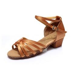 Dámské Dětské Satin Na podpatku Sandály Latinské S Pásek přes kotník Taneční boty