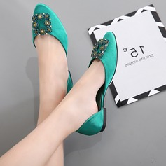 Women's Satin Flat Heel Flats Closed Toe With Crystal shoes