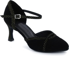 Nubuck Heels Pumps Modern Dance Shoes With Ankle Strap