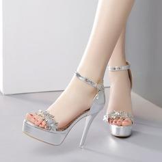 Women's Leatherette Stiletto Heel Sandals Pumps Platform With Rhinestone Buckle Flower shoes