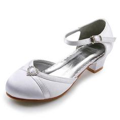 Frauen Satin Niederiger Absatz Geschlossene Zehe Flache Schuhe mit Schnalle Strass