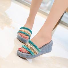 Femmes Talon stiletto Compensée Escarpins Chaussons avec Paillette Perle d'imitation Tassel Lanière tressé chaussures