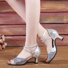 Women's Leatherette Sparkling Glitter Sandals Modern Jazz Ballroom Salsa Party Tango With Ankle Strap Dance Shoes