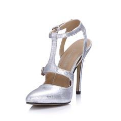 Couro Brilhante Salto agulha Bombas Fechados Sapatos abertos com Fivela sapatos