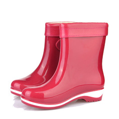 Women's PVC Low Heel Boots Mid-Calf Boots Rain Boots With Buckle shoes