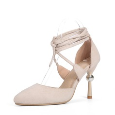 Women's Suede Stiletto Heel Sandals Pumps Closed Toe With Lace-up Jewelry Heel shoes