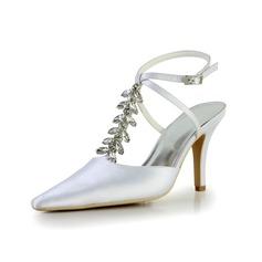 Mulher Cetim Salto carretel Fechados Plataforma Sapatos abertos com Imitação de Diamantes