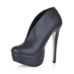 Leatherette Stiletto Heel Platform Boots Ankle Boots