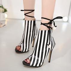 Frauen Kunstleder Stöckel Absatz Sandalen Absatzschuhe Peep Toe Stiefel-Wadenlang mit Bowknot Zuschnüren Schuhe