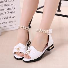 Fille de similicuir talon plat À bout ouvert Chaussures plates avec Brodé Bowknot Velcro