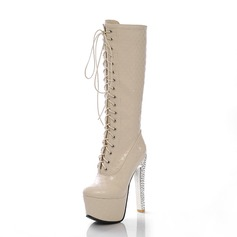 Leatherette Stiletto Heel Mid-Calf Boots With Lace-up shoes