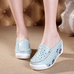 Women's Real Leather Wedge Heel Closed Toe Wedges With Split Joint shoes