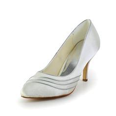Women's Satin Cone Heel Closed Toe Pumps
