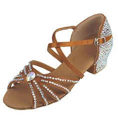 Women's Kids' Satin Heels Sandals Latin With Rhinestone Ankle Strap Dance Shoes