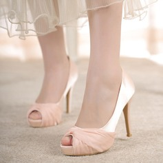 Women's Satin Stiletto Heel Peep Toe Platform Beach Wedding Shoes