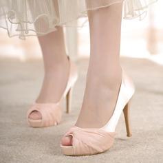 Femmes Satiné Talon stiletto À bout ouvert Plateforme Beach Wedding Shoes