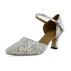 De mujer Brillo Chispeante Tacones Salón Sala de Baile con Tira de tobillo Zapatos de danza