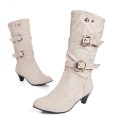 Dámské Koženka Široký podpatek Boty Mid-Calf Boots S Na přezku obuv