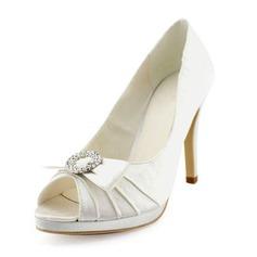 Women's Satin Stiletto Heel Peep Toe Platform Pumps Sandals With Bowknot Rhinestone