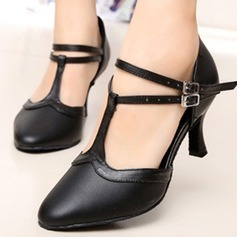 Women's Real Leather Heels Pumps Latin Jazz Practice Party Tango With Ankle Strap Dance Shoes