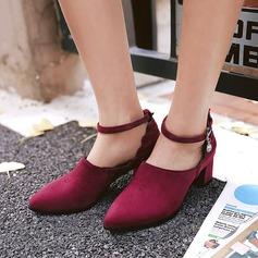 Dla kobiet Zamsz Obcas Slupek Czólenka Zakryte Palce Z Imitacja Pereł Klamra obuwie