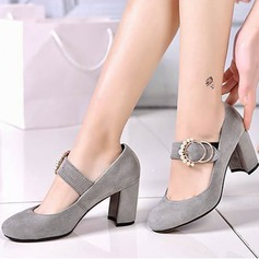 Women's Real Leather Chunky Heel Pumps Closed Toe Mary Jane With Buckle shoes