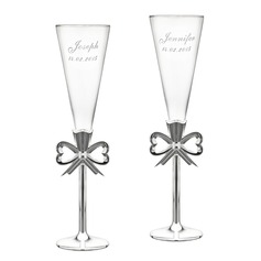 Personalized Glass/Aluminum Toasting Flutes (Set of 2)