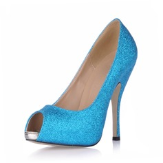 Women's Sparkling Glitter Stiletto Heel Sandals Platform Peep Toe shoes