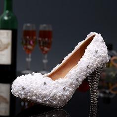 Kvinnor Spets Stilettklack Stängt Toe Pumps med Strass Kristall Heel