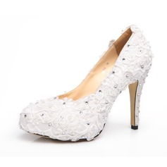 Women's Satin Cone Heel Closed Toe Platform Pumps With Imitation Pearl Rhinestone Satin Flower