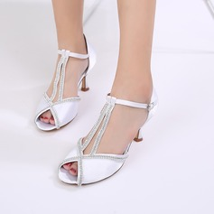 Women's Silk Like Satin Stiletto Heel Peep Toe Pumps Sandals With Buckle Rhinestone Chain