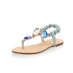 Similicuir Talon plat Sandales Chaussures plates avec Strass chaussures