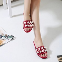 Frauen Veloursleder Flascher Absatz Flache Schuhe Pantoffel mit Nachahmungen von Perlen Niete Schuhe
