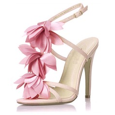Leatherette Stiletto Heel Sandals Slingbacks With Satin Flower shoes