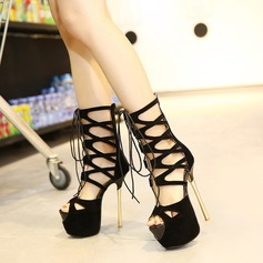Women's Suede Stiletto Heel Boots Peep Toe Ankle Boots With Lace-up shoes