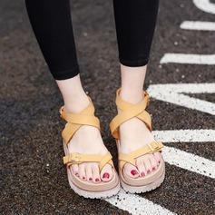 Women's Leatherette Wedge Heel Sandals Platform Peep Toe With Buckle shoes