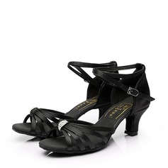 Women's Satin Heels Sandals Latin With Rhinestone Buckle Hollow-out Dance Shoes