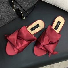 Women's Satin Flat Heel Sandals Peep Toe Slippers shoes