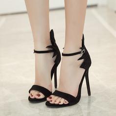 Women's Suede Stiletto Heel Sandals Pumps Peep Toe With Rhinestone Buckle shoes