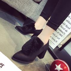 Dla kobiet Zamsz Obcas Slupek Czólenka Kozaki Botki Z Zamek błyskawiczny Futro obuwie