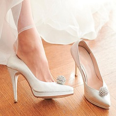 Women's Real Leather Stiletto Heel Closed Toe Platform Beach Wedding Shoes With Rhinestone