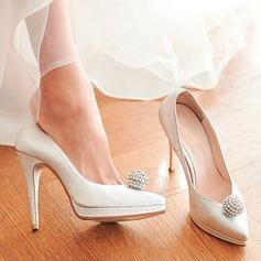 Femmes Vrai cuir Talon stiletto Bout fermé Plateforme Beach Wedding Shoes avec Strass