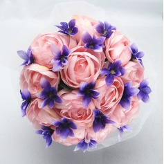 Pretty Round Satin/Cotton Bridal Bouquets