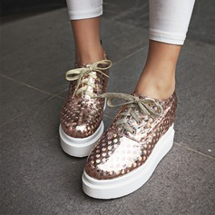 Women's Leatherette Wedge Heel Wedges With Sequin Lace-up shoes