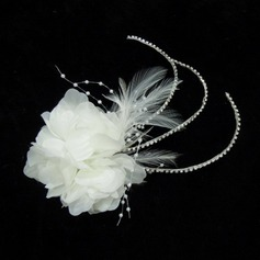 Lovely Rhinestone Feather Satin Fascinators