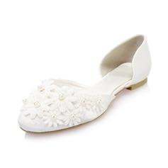 Women's Satin Flat Heel Closed Toe Flats With Imitation Pearl Flower