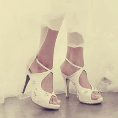 Femmes Dentelle Talon stiletto À bout ouvert Plateforme Sandales Beach Wedding Shoes avec Strass
