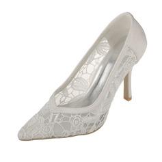 Women's Lace Satin Stiletto Heel Closed Toe Pumps